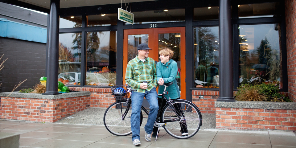 A Couple in downtown Bainbridge Island