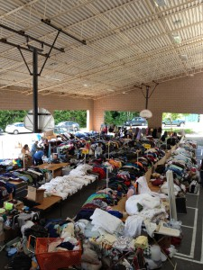 The Sea of Clothes at the Rotary Auction | Jen Pells Realtor