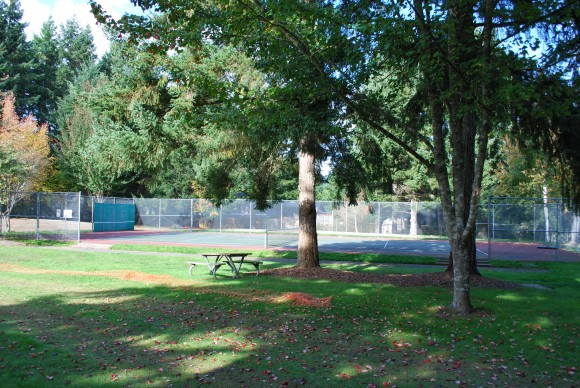 Tennis/volleyball courts at Eagledale Park.