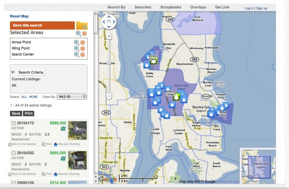 Search for homes by neighborhoods on Bainbridge Island