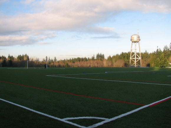 The new turf soccer fields at Battle Point Park on Bainbridge Island.