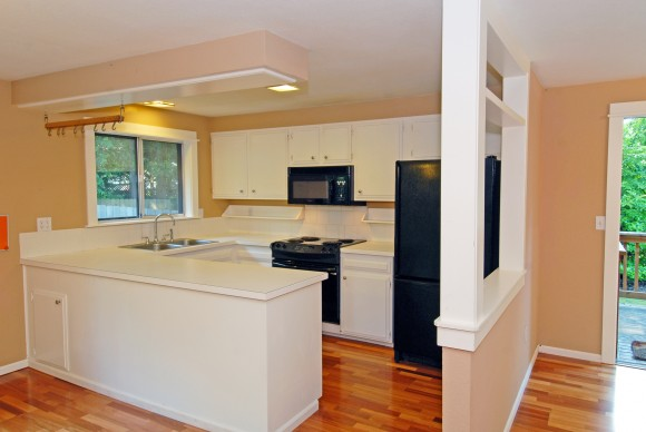 Open, updated kitchen in 1303 Kings Place, Bainbridge Island.