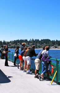 Folks riding the ferry from Seattle to Bainbridge.