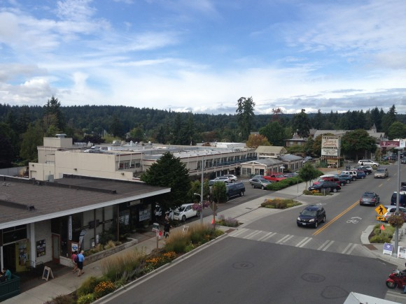 Looking down on Town & County Market on Winslow Way on Bainbridge Island.